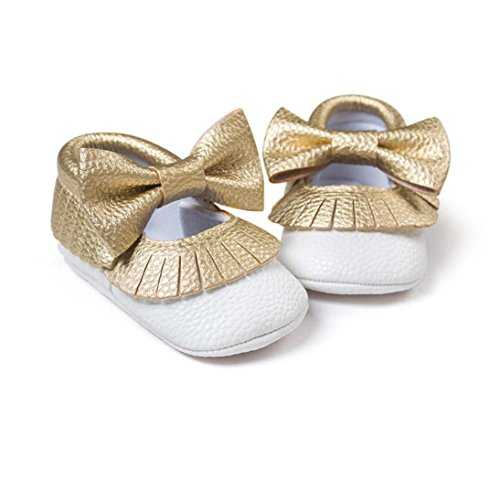 Jamicy® Baby Mädchen Bowknot Quasten Schuhe süße weiche Sohle Prinzessin Freizeitschuhe Weiß