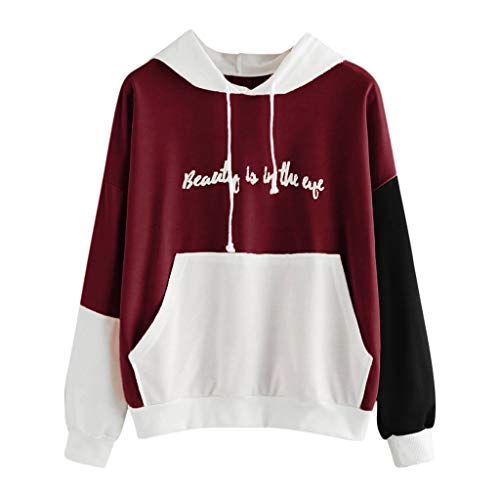 Damen Hoodie, VEMOW Frauen Beauty Brief gedruckt Langarm Sweatshirt Tops Bluse(Rot, 36/L)