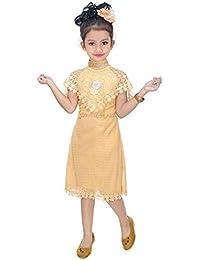White World Baby Girls Birthday Party wear Frock Dress_ Cream Poncho_9-10 Years
