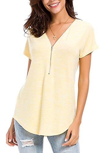 Quceyu Women V Neck Tops Zip up Casual Short/Long Sleeve Tunic T-Shirt Blouse Tops