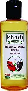 Khadi Premium Herbal Shikakai and Hibiscus Hair Oil Total Hair Care, 210ml