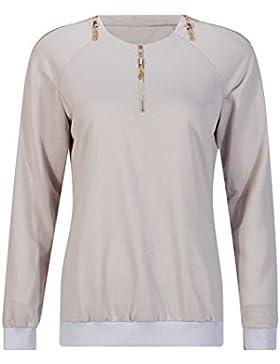 Beauty7 Cremallera Cuello Camisetas Mujer Casual Primavera Capucha Mangas Larga Tops T Shirt Parte Superior Camisa...