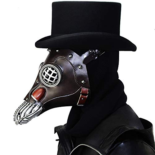 Urheberrecht Kostüm - GADS Kugelförmige Brille Pest Doktor Maske, Halloween Steampunk Pest Maske, Lange Nase Cosplay Kostüm Requisiten, Erwachsene Und Kinder, Metall Leder