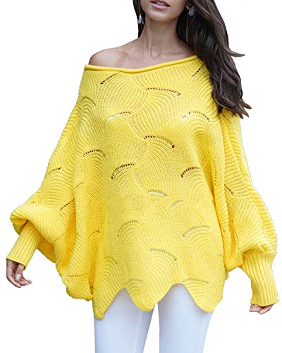 röße Fledermausärmel häkeln aushöhlen unregelmäßigen Saum Pullover Pullover Top ()
