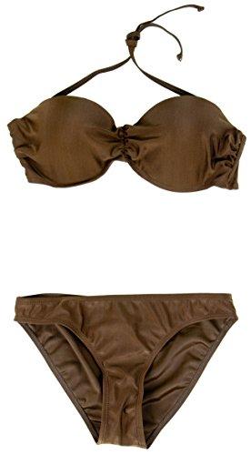 AvaMia Damen Bikini Set vorgeformtes Bandeau-Bikinitop mit Bikinihose low Braun