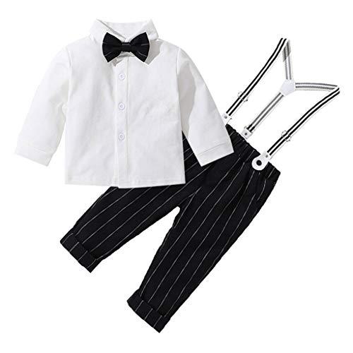 Allence Bekleidungsset Baby Jungen Hemd mit Fliege + Streifen Hose mit Träger Baby Gentleman Anzug Baumwolle Kleinkinder Set Babyanzug