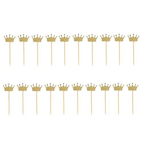 LUOEM 20 Stück Cupcake Topper Deko Picker Goldglitter Krone (Krone-spritzgießen)