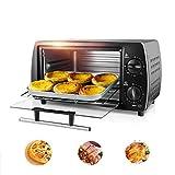 ZZAZXB Mini-Elektro-Backofen 12L, Doppel-Elektro-Backofen Backen Toaster Grill, Zeit Reservierung Und Temperaturregelung, Antihaft-Backform, Schwarz