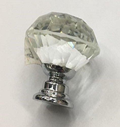 Pomos de cristal – 10 piezas de tiradores en forma de diamante transparente para cajones, gabinetes, aparadores en cocina, dormitorio, sala de estar, 30 mm