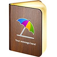 Personalised Wooden Folding Magnetic LED Book Lamp Featuring Umbrella-on-Ground Emoji