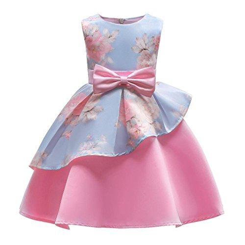 ♬ GongzhuMM Robe Ceremonie Fille 3 Ans-8 Ans Robe Bapteme Fille Bébé Robe Princesse Fille Rose Robe De Soirée Fille Swing Irrégulier avec Nœud Papillon