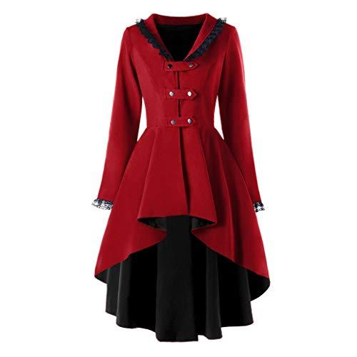 NPRADLA Damen Steampunk Gothic Long Coat Frack Mantel Retro Jacke Barock Punk Kleidung Vintage Viktorianischen Langer Cosplay Kostüm Smoking Uniform(Z-Rot,3XL)