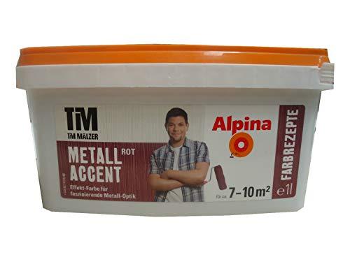 Alpina, Tim Mälzer Farbrezepte, Metall Accent Rot, 1 L., Effekt-Farbe, Wandfarbe