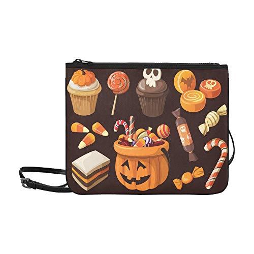 AGIRL Set Bunte Halloween Süßwaren Bonbons Icons Benutzerdefinierte hochwertige Nylon Slim Clutch Crossbody Tasche Umhängetasche