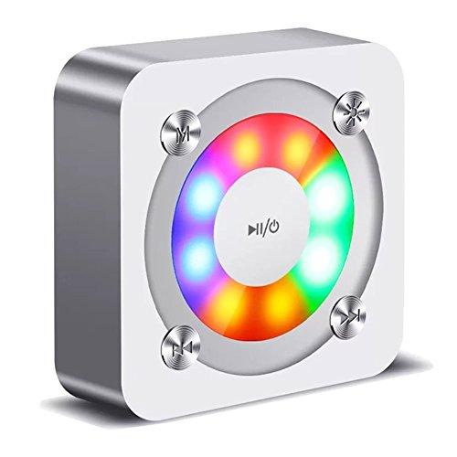 Kookoosmart tragbarer Bluetooth-Lautsprecher, drahtloser mit glühender Lampe Blinklichter, LED-reflektierendes Licht, im Freien Spielraum-Ministereolautsprecher für iPhone, TF Karte und mehr. (Silber)