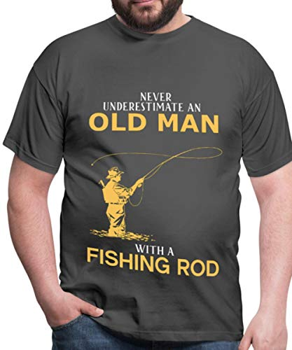8e9ab5da5f9 Spreadshirt Never Understimate Old Man with A Fishing Rod Men's T-Shirt,  XXL,