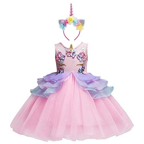 en Einhorn Kostüme Tütü Kleid Blume Rüschen Halloween Unicorn Cosplay Partykleid Hochzeit Brautjungfer Prinzessin Kleider Ärmellos Sommerkleid Festkleid Verkleidung für 3-10 Jahre ()