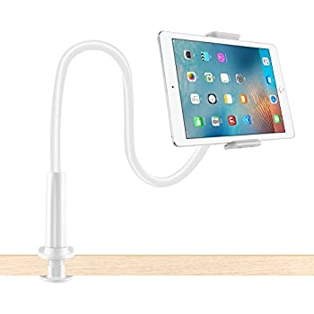 Lonzoth Adjustable Goose Neck Cellphone Mount/ iPad Mount/ Tablets Mount Holder Flexible with Bolt Clamp Bracket 360 Degree Rotating suitable in Bed, Table for Apple iphone 7 /6 / ipad Mini 3 / ipad Air 2 / Galaxy Tab 4 10.1 / Galaxy Tab A 9.7 / 8.0 And for any other 4.0-10.1 Inch Screen Device (White)