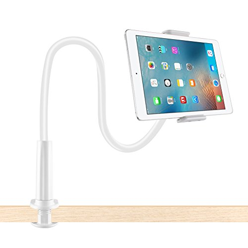 Lonzoth Schwanenhals Handy Halterung, iPad Schwanenhals Halterung Halter Einstellbare Halter Tablets Telefon halterung 360 ° Drehen für 4-11 Zoll Android und Apple Device (Weiß)