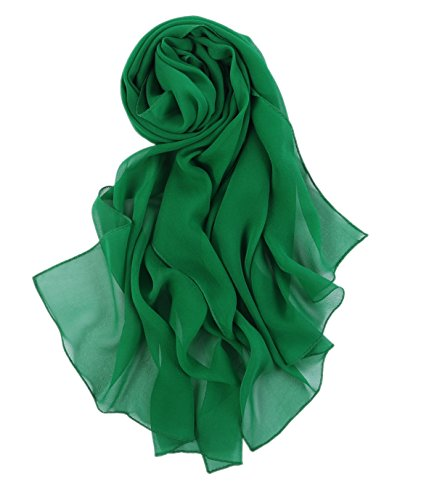 Prettystern - 176cm uni-farbe tinta unita semplice scialle in seta pura sciarpa - grün
