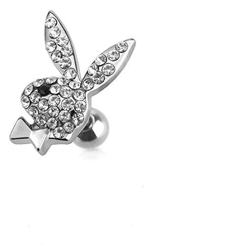 Offizielle lizenzierte Playboy Multi Clear Crystal verkrustete Hase und Bow-Tie Tragus oder Knorpel Piercing Dicke: 1.2mm Länge: 6mm Ball Größe: 4mm Material: Chirurgische Stahl