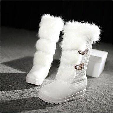 Bottes pour femmes Bottes Neige Confort Hiver confort décontracté PU Bottes de neige noir blanc sous 1en blanc,NOUS,4-4,5 / EU34 / UK2-2,5 / CN33