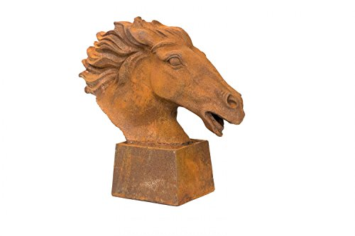 Skulptur Figur Pferd Eisen Pferdekopf 20kg sculpture iron horse Büste Garten -