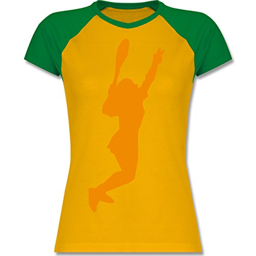 Tennis - Tennis - zweifarbiges Baseballshirt / Raglan T-Shirt für Damen Gelb/Grün