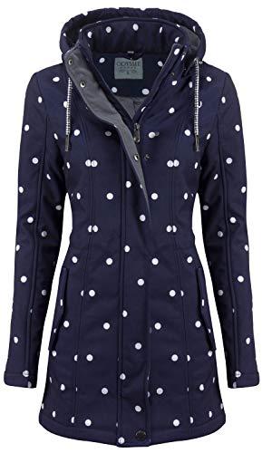 ODYSSEE Damen Softshell Mantel gepunktet Parka Jacke Kapuze Outdoor Übergang, Größe:S, Farbe:blau