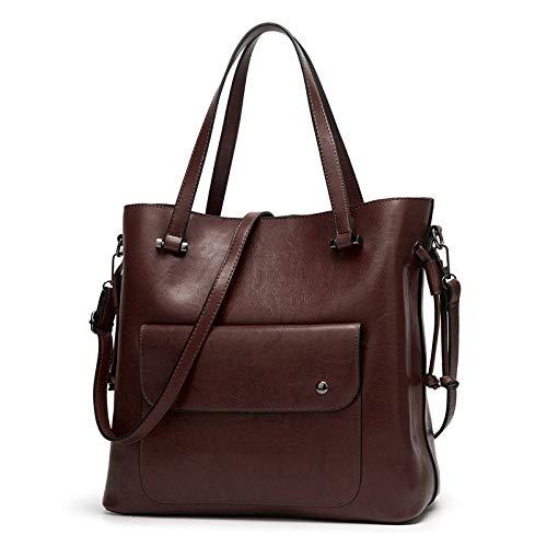 Bags womenCrossbody Large Lässige Schultertasche mit großer Kapazität Vintage Temperament Tote, Coffee Color