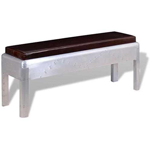 vidaXL Banco Aviador 110x32x45 cm Cuero Silla Asiento Mueble Mobiliario Salón