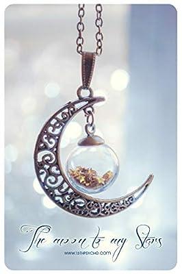 Collier croissant de lune, bijoux de lune, bijoux célestes, collier de billes de verre, collier de galaxies, cadeau de Noël pour elle, bijoux étoiles, collier lune avec orbe, couleur personnalisée.