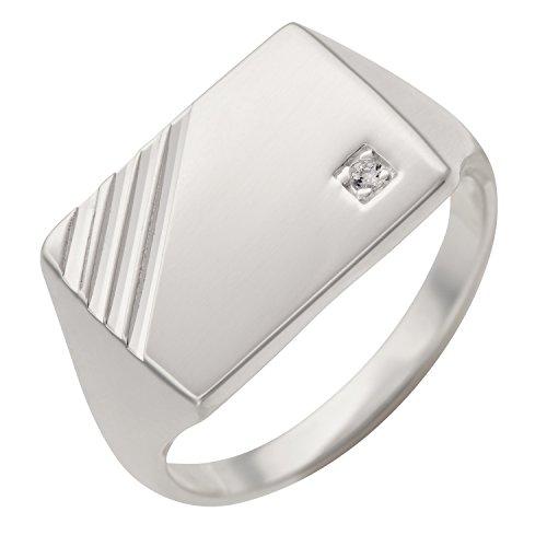 Schmuck-Pur 925/- Sterling-Silber Herren-Ring Siegelring mit Zirkonia diamantiert (Größe 22) (Sterling Silber Siegelring Männer)