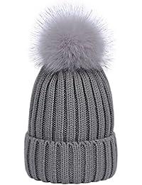 Lau s Gorros tejidos de invierno para mujer gorros de punto de canalé con  pompón de piel 47dc34da675