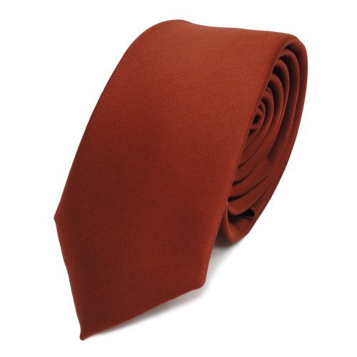 schmale TigerTie Satin Krawatte braun rot rotbraun uni - Binder Schlips Tie Polyester