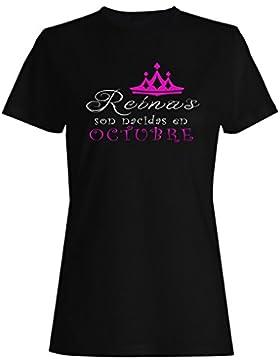 Nuevo Reinas son nacidas en Octubre camiseta de las mujeres z84f