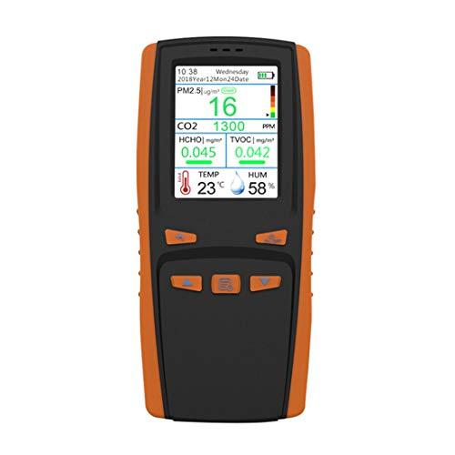 Indoor Air Quality Monitor Detektor Genaue Prüfung Formaldehyd (HCHO) TVOC CO2 PM2.5 Luftverschmutzung mit Temperatur Luftfeuchtigkeit Echtzeit-Aufzeichnung für zu Hause