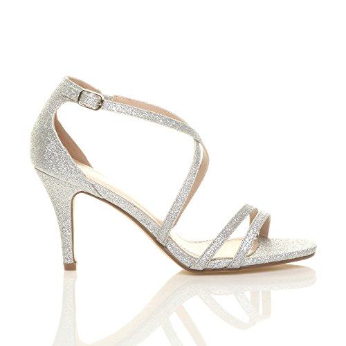 Donna tacco alto medio cinghietti incrociato matrimonio sera sandali taglia Scintillio argento
