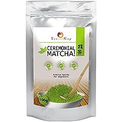 Matcha-Tee Bio von TeeVomKap® - 100g Matcha-Pulver - Grüntee-Pulver- Premium Matcha für alle - Matcha-Ceremonial-Grade