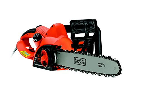 Black+Decker 2000W Elektro-Kettensäge, Motorsäge CS2040, 40cm Schwertlänge, 12.5m/s Kettengeschwindigkeit, rückschlagarm, Kettenbremse, schwarz orange