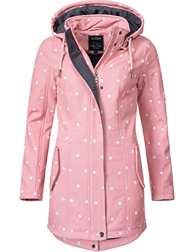 Peak Time Damen Softshell Mantel L60013 Rosa/Weiß gepunktet Gr. L - Frauen Peak Mantel