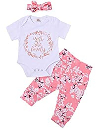 K-youth Ropa Bebe Niña Primavera Verano 2018 Infantil Recien Nacido Body Bebé Niño Manga Corta Conjuntos Blusas Bebé Mono Mameluco + Floral Pantalones Largos y Sombrero 0-24 Mes