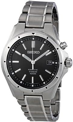 Seiko SKA493P1 - Reloj analógico de caballero de cuarzo con correa de titanio gris - sumergible a 100 metros