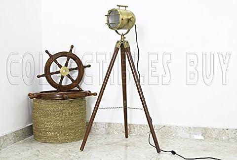 Cru Chambre LED projecteur Nautique Trépied Sol Lampe Antique Lumières Maritime Navire supporter Les lampes