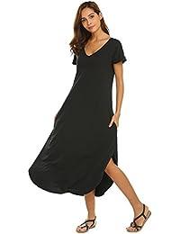 ADOME Nachthemd Damen Lang Nachtwäsche Baumwolle Sommer Kurzarm V-Ausschnitt High Low Nachtkleid Still Sleepshirt Sleepwear mit Taschen S,M,L,XL,XXL