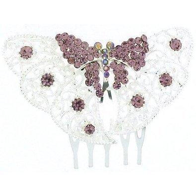 Cristal et Argent en Filigrane Papillon Haircomb (Lilas/Violet)