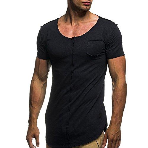 FRAUIT Persönlichkeit Mode Herren Oversize T-Shirt Kurzarm Sweatshirt Hoodie Kurzarm Hoody T-Hemd Pullover Persönlichkeit Mode Design Atmungsaktiv Weich Bequem Tops Kleidung Bluse
