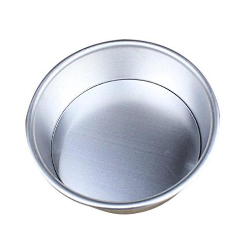 Cake Pan,Wokee Round Cake Baking Mould Pan Aluminum Alloy Non Stick Bakeware Quick-Release Springform Cake Pan (Silver 7 inch)