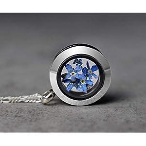 925 Vergissmeinnicht Sterling Silber Medaillon Kette