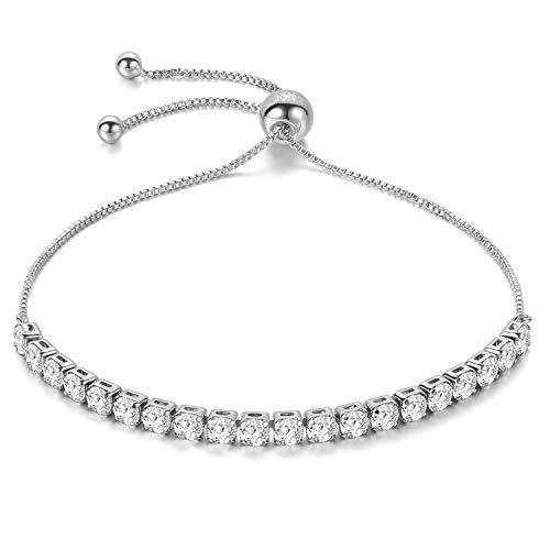 J.Fée Damen Armband Silber Armband Verstellbares Armband Damen,Tennis Kristall Armband Zirkonia Armband Damen Frauen Armband für Jubiläum,Geburtstag,Abschluss,Party,Weihnachten -